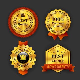 Assortimento di etichette di affari garantite oro isolato su sfondo grigio.