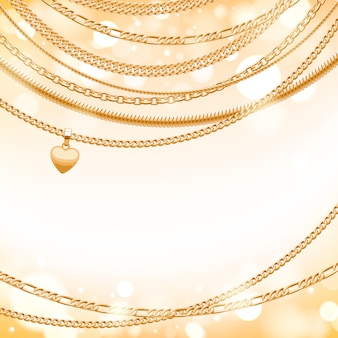 Assorted golden chains on light glow background with heart pendant. good for cover card banner luxury .