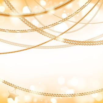 Assorted golden chains on light glow background with star pendant. good for cover card banner luxury .