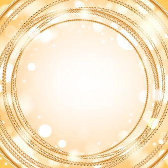 Assorted golden chains on light glow round background. good for cover card banner luxury .