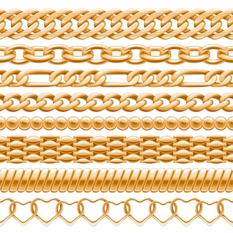 Assorted golden chains on white seamless background.  brushes for your .
