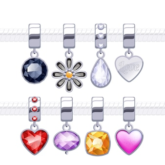 Assorted metal charm pendants for necklace or bracelet.