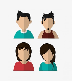 Assorted people portrait icons image