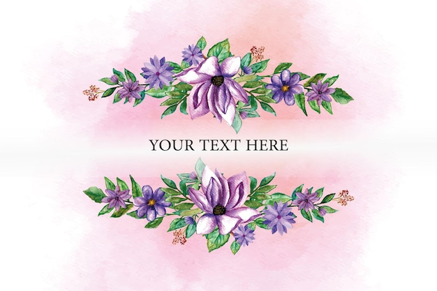 Assorted purple flowers and leaves with watercolor background for template