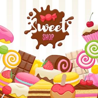 お菓子のカラフルな背景の盛り合わせ