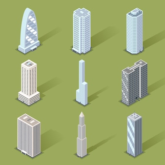 Assorted three dimensional skyscraper set