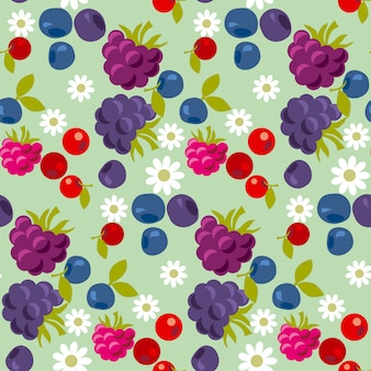 Assorted violet and blue forest berry seamless pattern