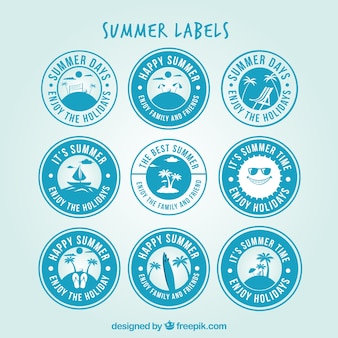 Assortment of blue round labels for summer