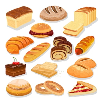 Assortment of bread and flour products, pastries, bakery goods.