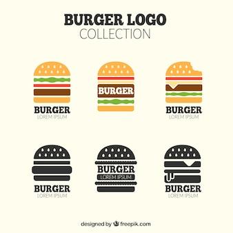 Assortment of burger logos in flat design