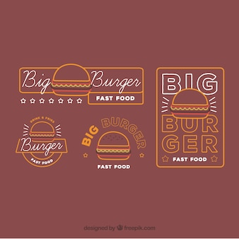 Assortment of burger logos with white elements