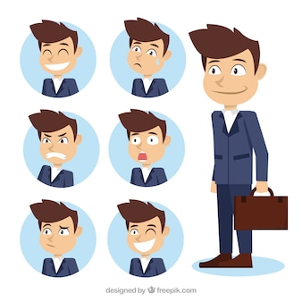 Assortment of businessman character with fantastic expressive faces