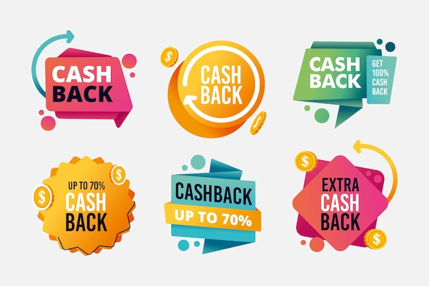 Assortment of cashback labels