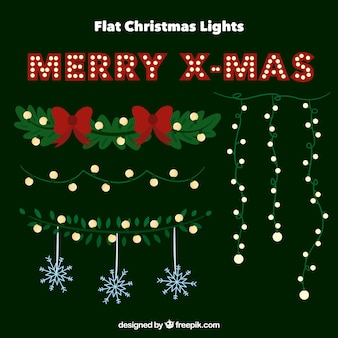 Assortment of christmas lights with floral elements and snowflakes