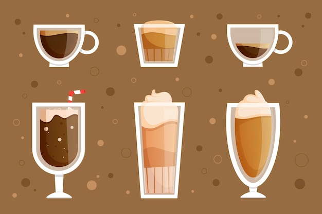 Assortment of coffee types
