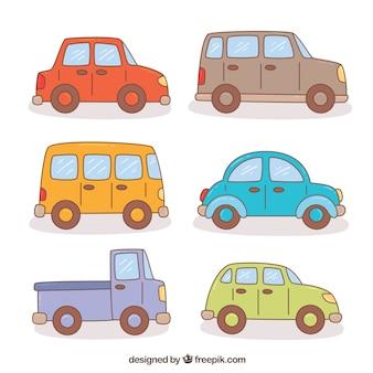 Assortment of colored cartoon vehicles