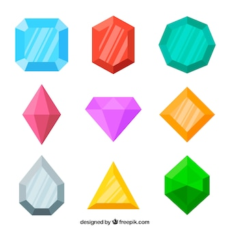Assortment of colored gems in flat design