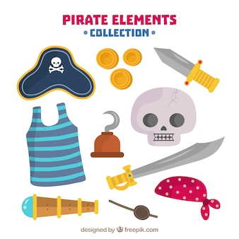Assortment of colored pirate items