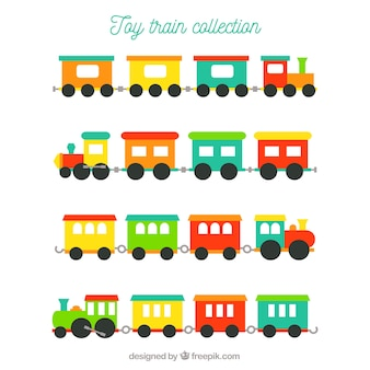 Assortment of colored toy trains