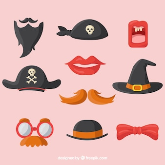 Assortment of colorful accessories for photo booth Free Vector