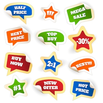 Assortment of colorful discount sale tags in word bubbles