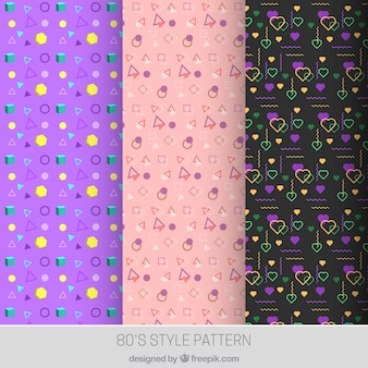 Assortment of colorful patterns in 80s style