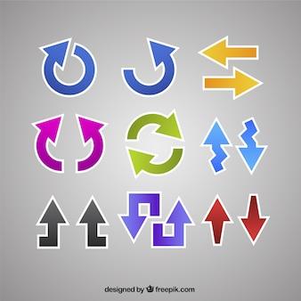 Assortimento di adesivi colorati a forma di freccia