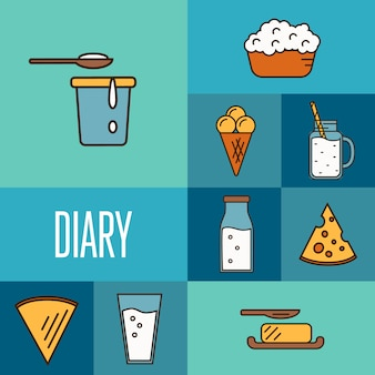 Assortment of dairy products, square composition
