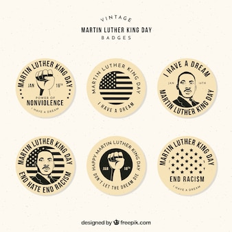Assortment of decorative badges for martin luther king day in vintage style
