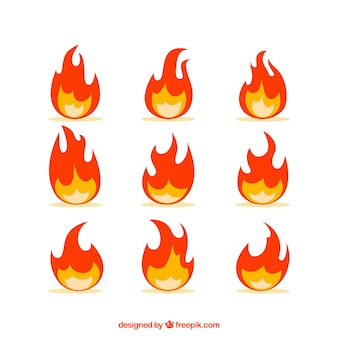 Assortment of decorative flames in flat design