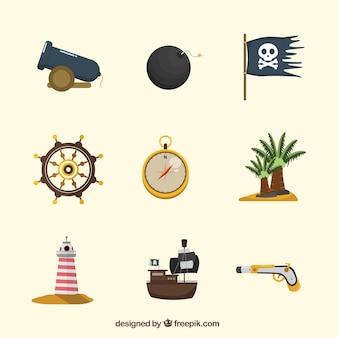 Assortment of decorative pirate elements in flat design