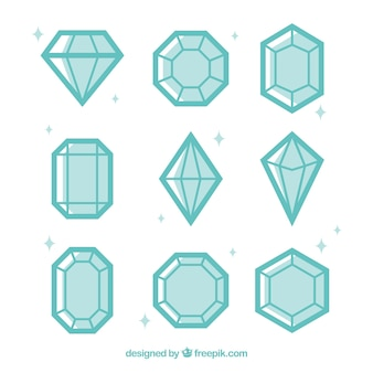 Assortment of diamonds in flat design