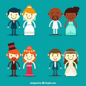 Assortment of different wedding couples