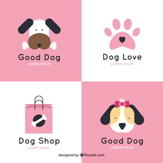 Assortment of dog logos with pink elements