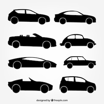 Assortment of eight car silhouettes with great designs