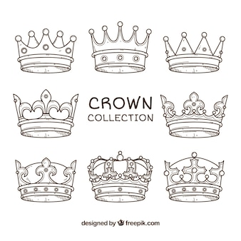 Assortment of eight hand-drawn crowns