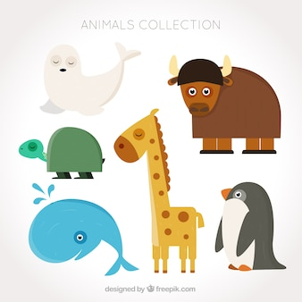 Assortment of fantastic animals in flat design