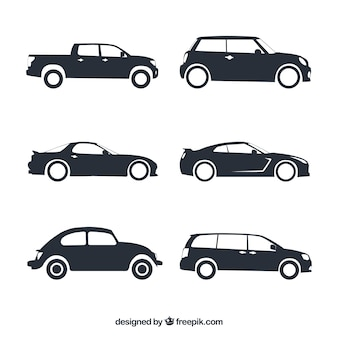Assortment of fantastic car silhouettes