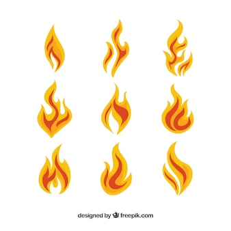 Assortment of fantastic flames in flat design