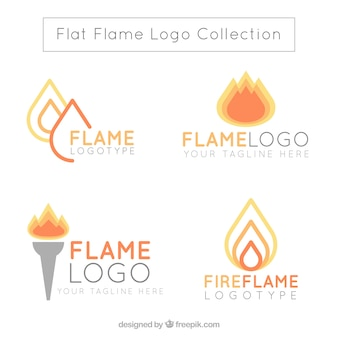 Assortment of flame logos in flat design