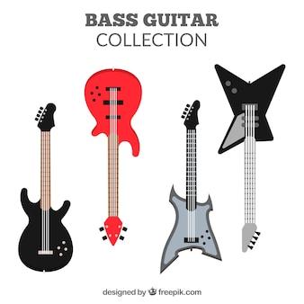 Assortment of flat bass guitars