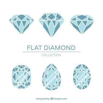 Assortment of flat diamonds in blue tones