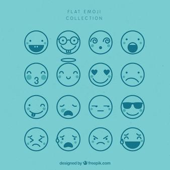 Assortment of flat emojis in blue tones Premium Vector