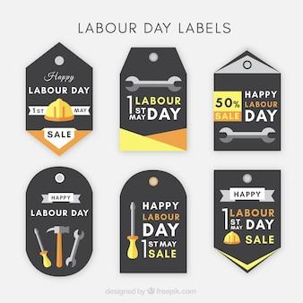 Assortimento di etichette piatte per il giorno internazionale del lavoratore