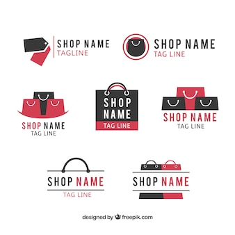Assortment of flat logos for shops