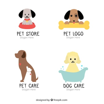 Assortment of flat logos with cute dogs