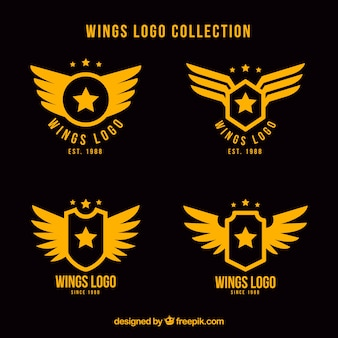 Assortment of flat logos with stars and wings