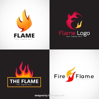 Assortment of four flame logos in flat design