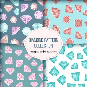 Assortment of four patterns with flat diamonds