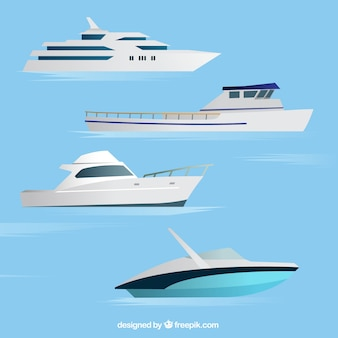Assortment of four realistic boats